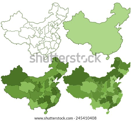 Contour maps set of the China. All objects are independent and fully editable  - stock vector