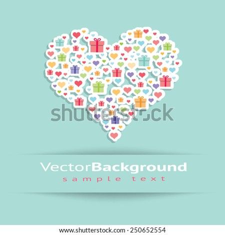 Contour of heart consisting of small boxes and little hearts, presented on a blue background, Flat image of vector - stock vector