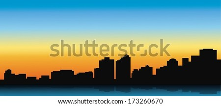 Contour of the big city on a blue background - stock vector