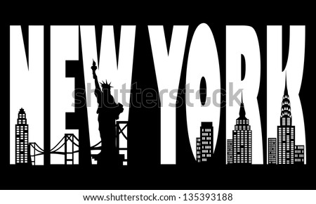 Contour of the city of New York - stock vector