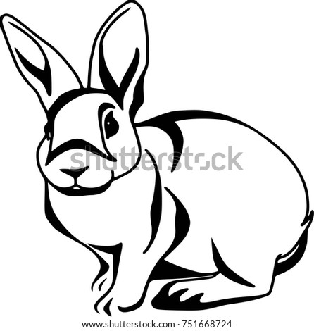 Contour pattern - black and white, sitting rabbit isolated