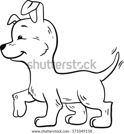 Contour puppy for book for children or coloring.