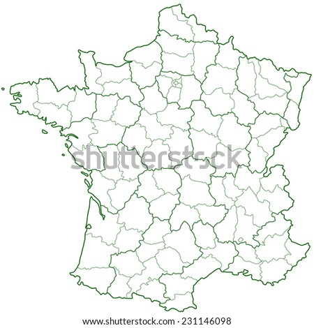 Contour region and department map of the France   - stock vector