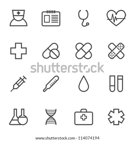 Contour simple medical icons set - stock vector