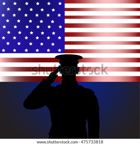 Contour soldier on a background of the American flag. Design Memorial day.