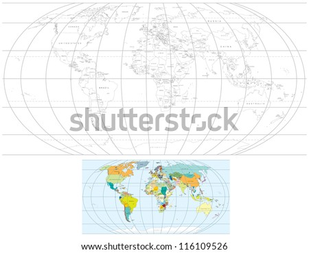 Contour transparent world map detailed vector stock vector 2018 contour transparent world map detailed vector political maps with all countries capitals gumiabroncs Choice Image