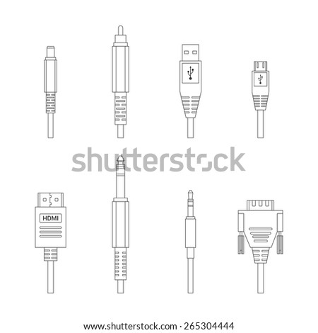 Contour vector color outline various audio connectors and inputs set - stock vector