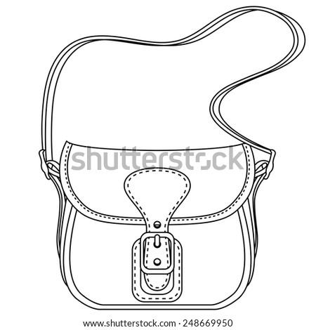 Contour vector illustration. Ladies fashion bag on white background - stock vector