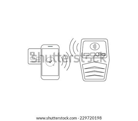 Contour vector illustrations of payment by smartphone via nfc. Line thickness fully editable - stock vector