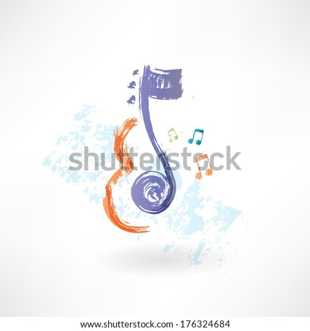 contour Violin and note grunge icon - stock vector