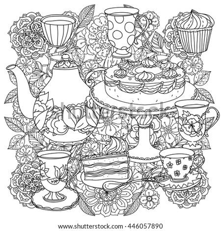 Zen Mandalas Coloring Book : Contoured cakes cupcakes sweets teapot cups stock vector 446057923