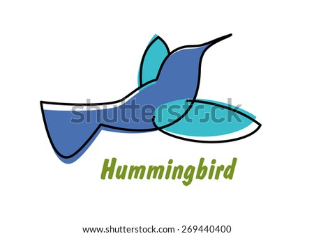 Contoured flowing blue hummingbird in flight symbol or logo with small graceful bird with long thin beak isolated on white background - stock vector