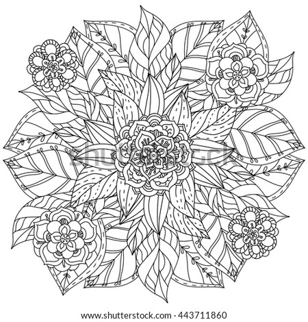 Black White Circle Floral Ornament Round Stock Vector