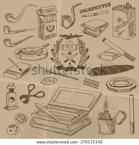 Contours of Cigarettes, Cigars and Smoking Accessories in Vintage Style on Old Paper Background - stock vector