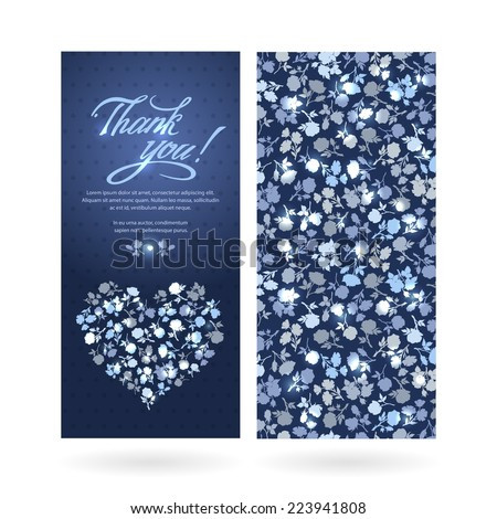 "Contours of flowers and text box with the words ""Thank you"". Bright and contrast banners. Vector modern Invitation, greeting, congratulation. Romantic style. - stock vector"
