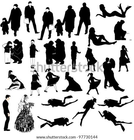 Contours of people on a white background