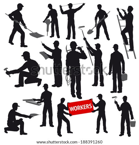 Contours of Workers and Builders with Instruments in the Workplace - stock vector