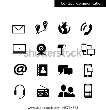 contract and communication icons - stock vector