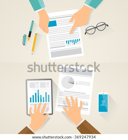 Contract and documentation on desk, hand pointing on details, mobile devices and pencils. Vector created illustration of business situation, discussion, contract. showing to other person. - stock vector
