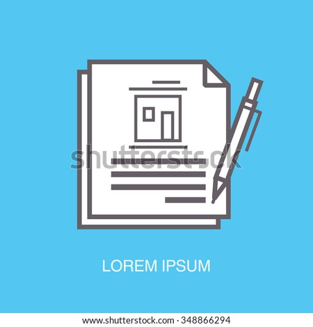 Contract signing with pen real estate outline flat icon on blue background - stock vector