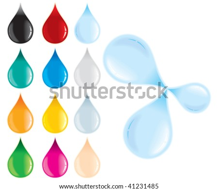 Contrast Drops with blur on white drop of water, amber, blood, ink, oil, printer etc - stock vector