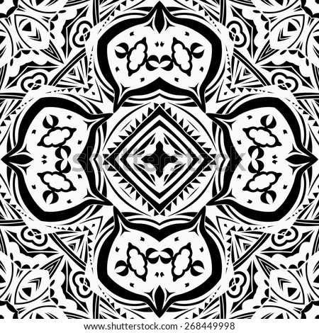 Contrast ethnic repeatable ornament. Seamless tribal lacy pattern in black and white. Abstract symmetric background. Lace imitation style. Stylized Indian square motif. Vector file is EPS8 - stock vector