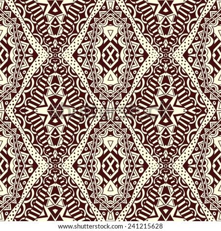 Contrast lacy seamless tribal pattern. Ethnic geometric abstract symmetric ornament. Contrast background. Vector file is EPS8. - stock vector