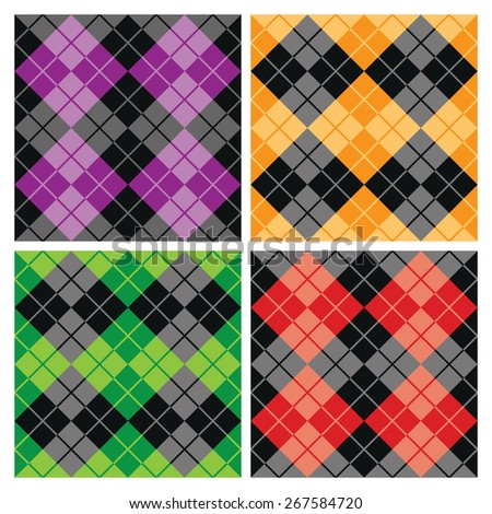 Contrasting seamless argyle pattern collection. - stock vector