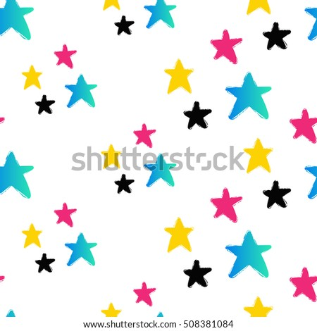 Contrasty seamless pattern with stars for beauty salons or shops. Inspired by fashion professional hairdressers tools. Vector background with isolated elements on white backdrop.