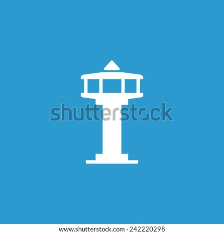 control tower icon, isolated, white on the blue background. Exclusive Symbols  - stock vector