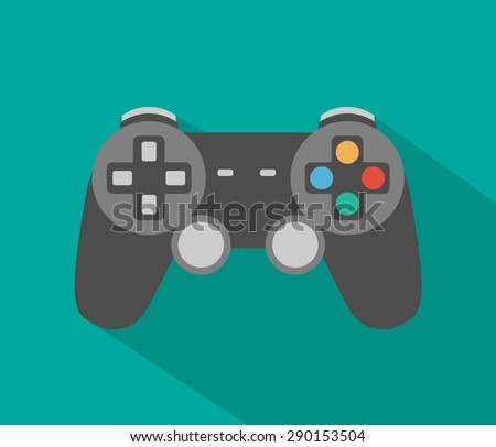 Controller icon with long shadow - flat style - stock vector