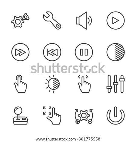 Controls icons - vector, eps10 (line icon) - stock vector