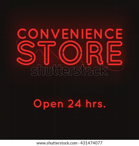 Convenience store neon shining on black background.