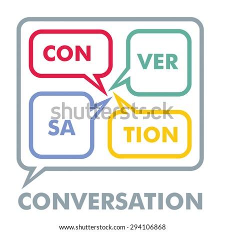 Conversation concept, colorful dialog speech bubbles text  - stock vector