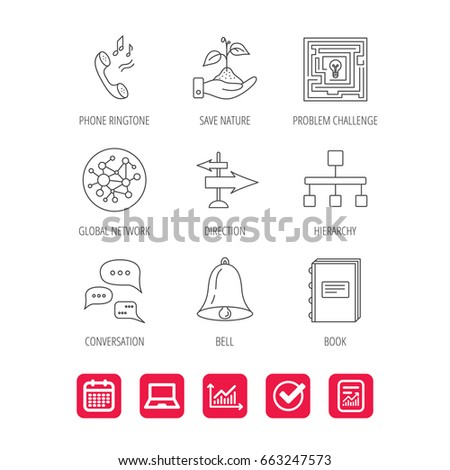 Conversation Global Network And Direction Icons Save Nature Maze Book Linear Signs