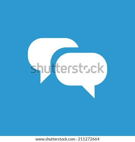 Conversation icon, isolated, white on the blue background. Exclusive Symbols  - stock vector