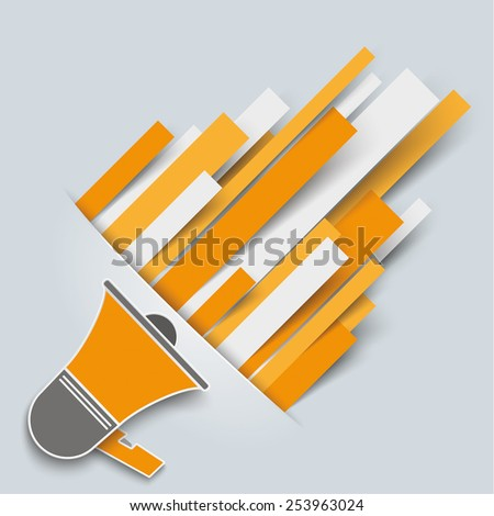 Convert paper lines with bullhorn on the gray background. Eps 10 vector file. - stock vector