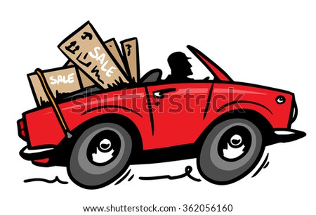 convertible goes out of the store with shopping - stock vector