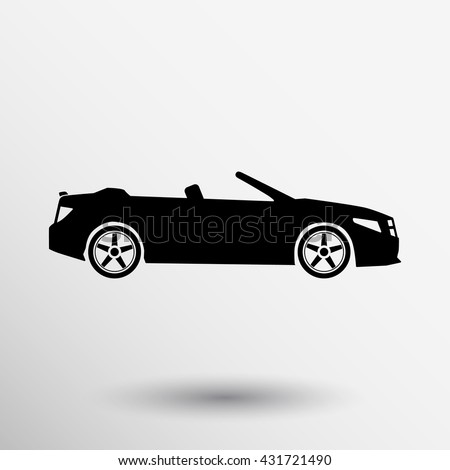 Convertible Sports Car icon vector symbol graphic vehicle automobile illustration on white background - stock vector