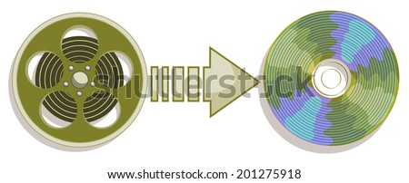 Converting video into data storage format, burning disk - stock vector