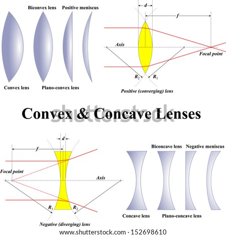 Convex & Concave Lenses - stock vector