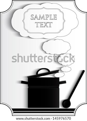 cook, boiling pan white steam / silhouette/ vector illustration eps 10 - stock vector