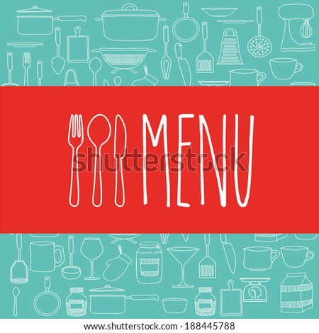 Cook book design over blue background ,vector illustration - stock vector