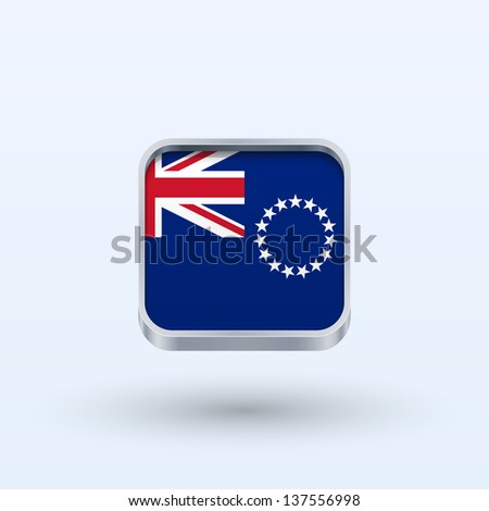 Cook Islands flag icon square form on gray background. Vector illustration. - stock vector