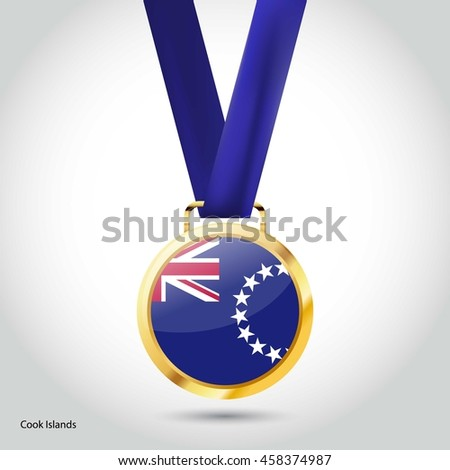 Cook Islands Flag in gold Medal. Vector Illustration. RIO Olympic Game Bronze Medal. Vector Illustration