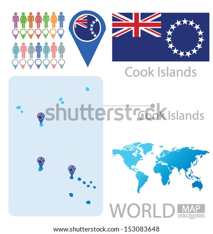 Cook Islands. flag. World Map. vector Illustration. - stock vector