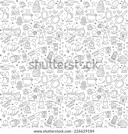 Cook objects doodles seamless pattern Black and white vector illustration - stock vector