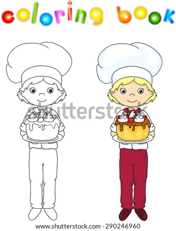 Cook or waiter in their uniform with sweet birthday cake. Coloring book. Game for children. Vector illustration - stock vector