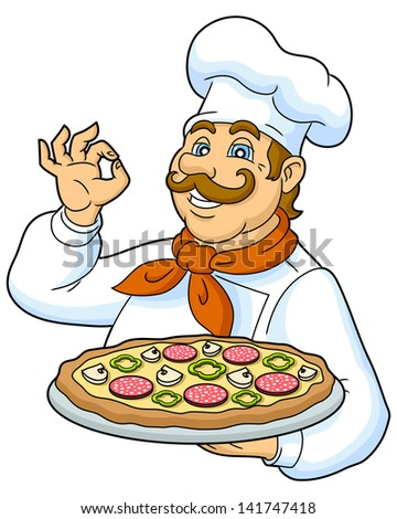 Cook pizza on a plate. Funny chef presenting a delicious pizza. Designed to decorate the restaurant menus. Vector illustration. - stock vector