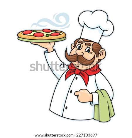 Cook Pizza. Vector illustration isolated on a white background.